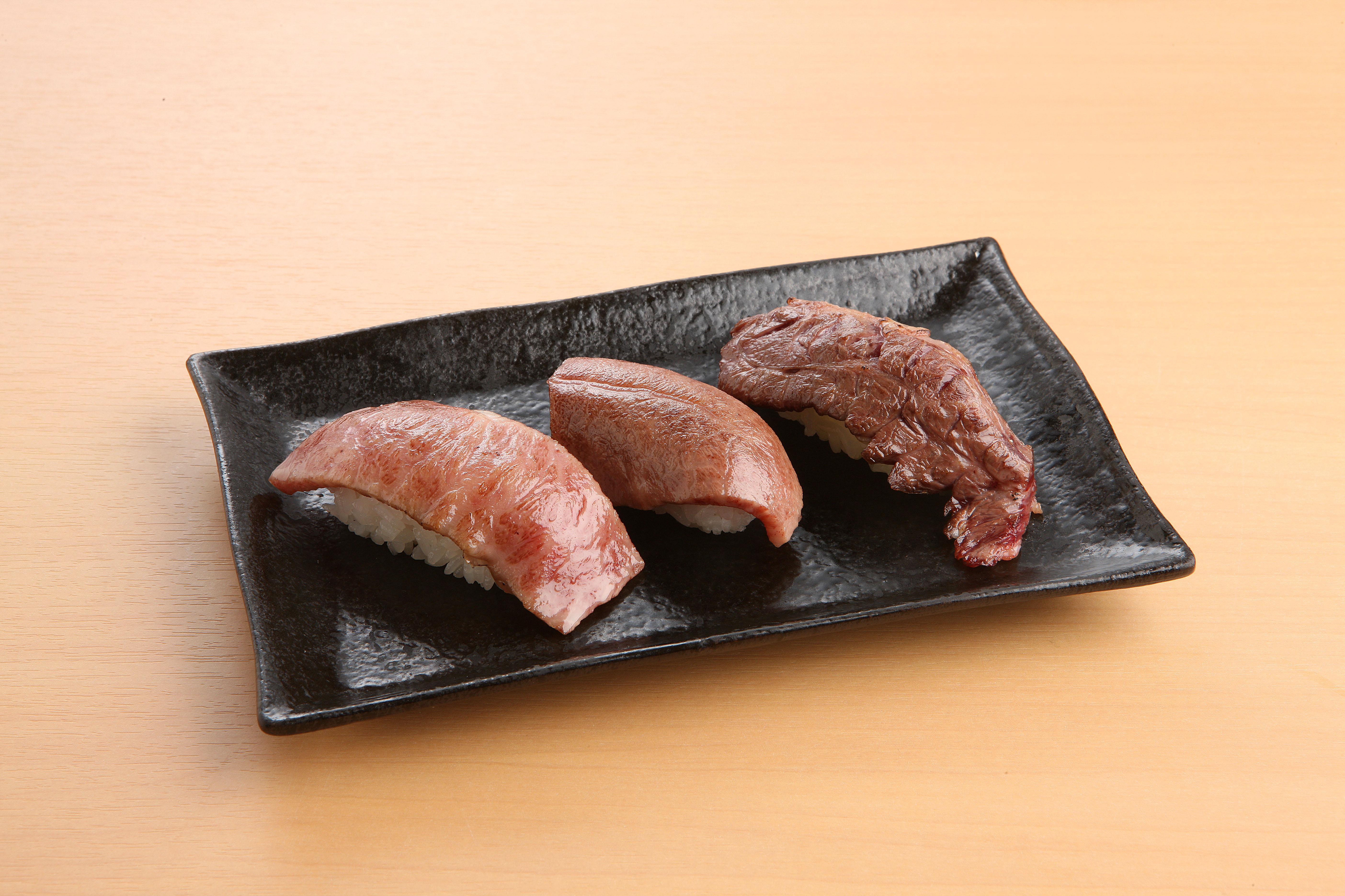 184肉寿司3種盛り
